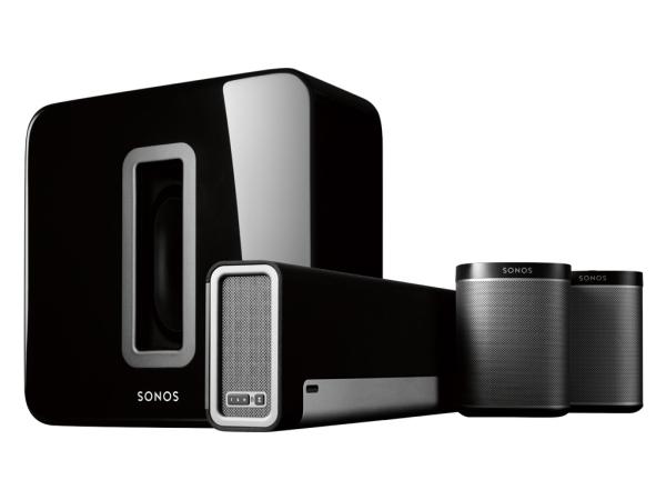 Sonos Home-Cinema Set mit zwei PLAY:1 schwarz, enthält Sonos PLAYBAR inkl. Wandhalterung, Sonos SUB und zwei Sonos PLAY:1 in schwarz