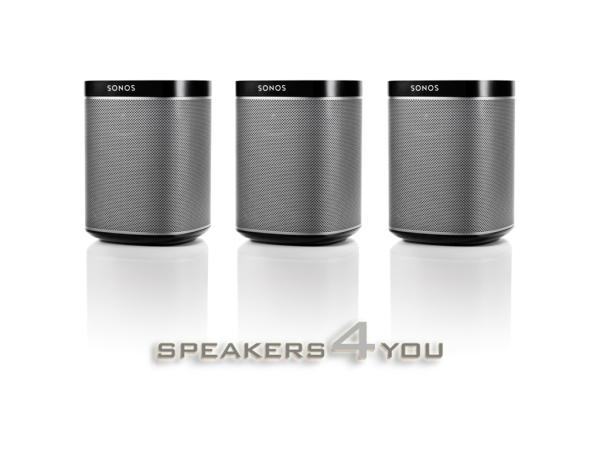 Sonos PLAY:1 schwarz, 3er-Set, der kompakte Wireless-Lautsprecher mit sattem, kristallklarem HiFi-Sound, tiefem Bass und jeder Menge Power