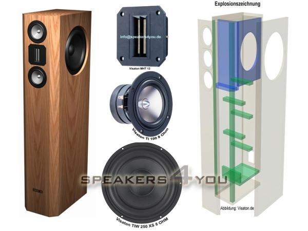 Visaton VOX 253 MTI Lautsprecherbausatz ohne Gehäuse, das aktuelle Highlight der VOX-Serie mit kompromissloser BeStückung TI 100 und MHT 12